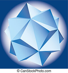 helling, figuur, vector, polyhedral, ster, 3d.