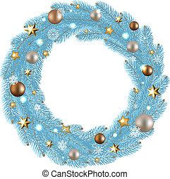 helling, krans, maas, illustratie, vector, zalige kerst
