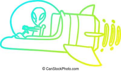 helling, lijntekening, alien, ruimtevaartuig, koude, spotprent