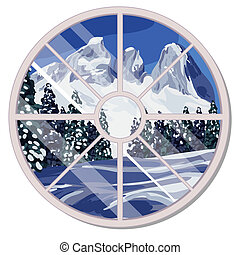 helling, naald, illustration., snow-covered, winter, het overzien, berg, land, house., vrijstaand, ronde, achtergrond., venster, vector, ontwerp, bos, interieur, witte , spotprent, luxe