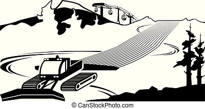 helling, ploeg, sneeuw, clears, groeven, ski