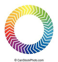helling, regenboog, pijl, circulaire