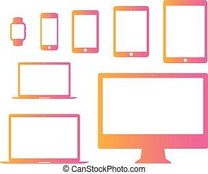 helling, roze, om te, sinaasappel, beweeglijk, tablet, draagbare computer, computer, horloge, plat, pictogram, set