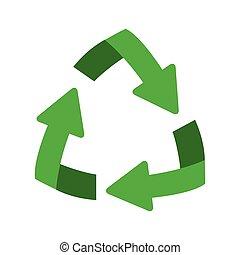 helling, symbool, recycling, pijl, vorm, groene