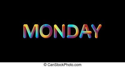 helling, teken., iridescent, maandag, 3d