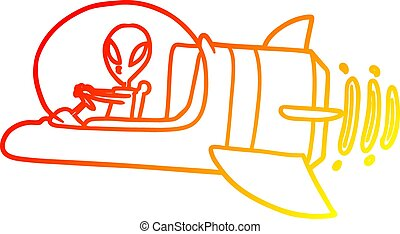 helling, tekening, alien, ruimtevaartuig, warme, lijn, spotprent