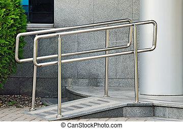 helling, voor, wheelchair, ingang
