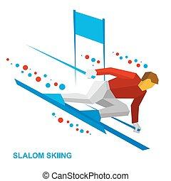 helling, winter, -, slalom, sportsman, sporten, omlaag., ...