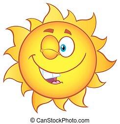 helling, zon, het knipogen