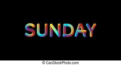 helling, zondag, teken., iridescent, 3d