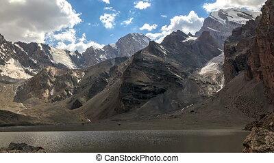 hellingen, van, bergen, onder, clouds., timelapse., pamir, tajikistan