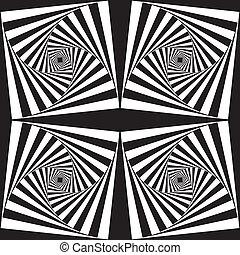 hellix, résumé, descendre, fond, carrés, x4