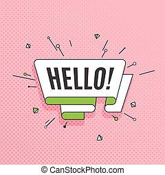 hello., スタイル, 芸術, ポンとはじけなさい, 要素, colorfu, デザイン, レトロ, ...