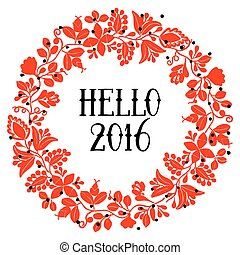 Hello 2016 red wreath vector card