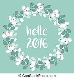 Hello 2016 wreath vector card