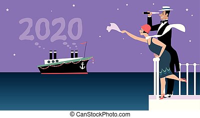 Couple dressed in 1920 fashion greeting a ship representing a new 2020 year, EPS 8 vector illustration