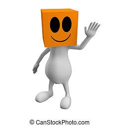 Hello - 3d little cute people with cube orange head, waving ...