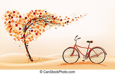 Hello a gold autumn. Autumn landscape with autumn colorful leaves on the  tree and bike in a park on a background. Vector illustration