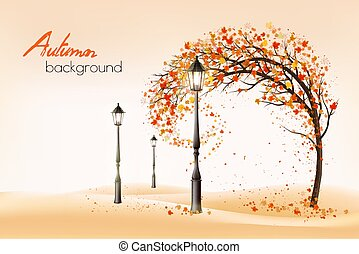 Hello a gold autumn. Autumn landscape with autumn colorful leaves on the tree and lampposts in a park on a background. Vector illustration