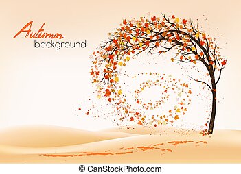 Hello a gold autumn. Autumn landscape with autumn colorful leaves on the  tree in a park on a background. Vector illustration