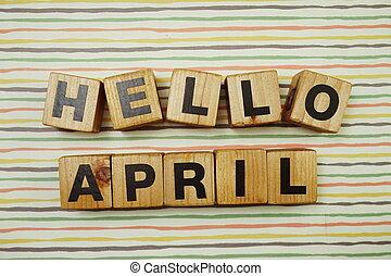 Hello April alphabet letters on colorful stripes background