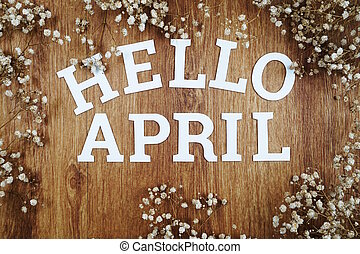Hello April Alphabet Letters with dried flower on wooden background