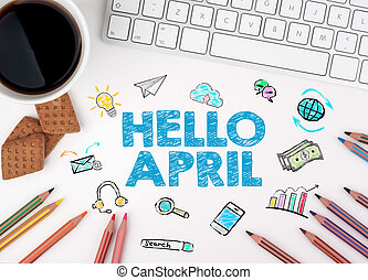 Hello april, Business concept. Computer keyboard and cup of coffee on a white table