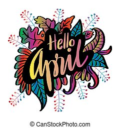 Hello April hand lettering calligraphy.
