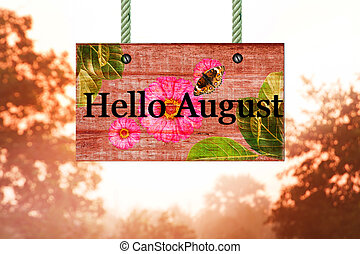 hello August signpost in beautiful woodland with vintage forest filter