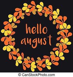 Hello august vector wreath