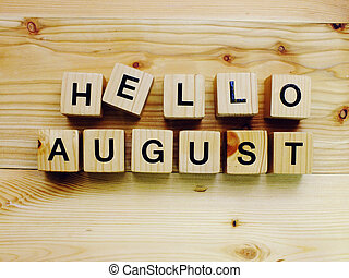 hello august wooden block