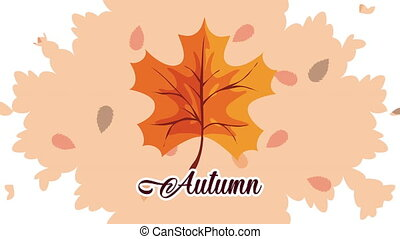 hello autumn animation with leafs and lettering ,4k video animated