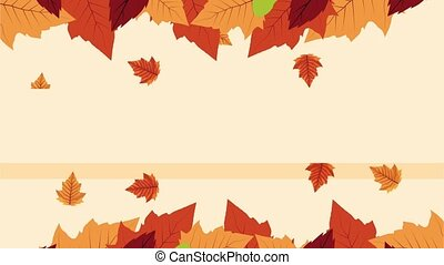 hello autumn animation with leafs frame ,4k video animated