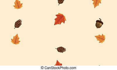 hello autumn animation with leafs pattern ,4k video animated