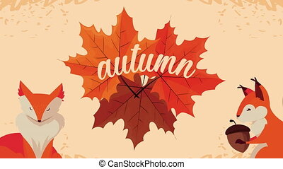 hello autumn animation with lettering and leafs ,4k video animated