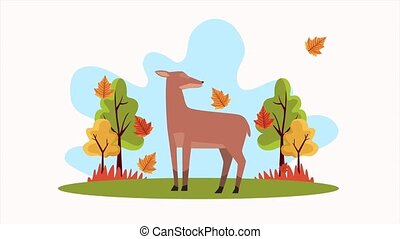 hello autumn animation with little reindeer in forest scene...