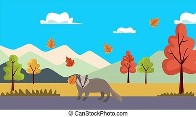 hello autumn animation with marsupial in landscape ,4k video animated