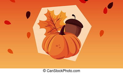 hello autumn animation with pumpkin and leafs ,4k video animated