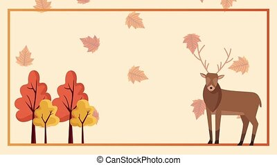 hello autumn animation with reindeer and trees in square frame ,4k video animated