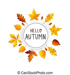 Hello autumn. Autumn hand drawn lettering vector. Hello autumn background with fall leaves. Orange and yellow leaf seasonal illustration. Poster, card, label, banner design.