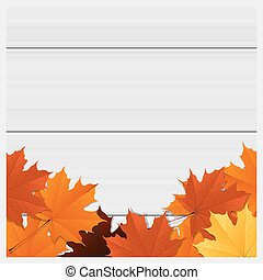 Hello autumn background with colorful leaves on wooden board 3