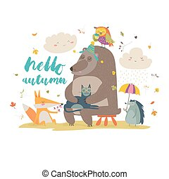 Hello autumn background with cute animals