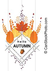 Hello autumn background with decorative wreath on wooden board 8