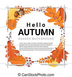 Hello autumn background with decorative wreath on wooden board 7