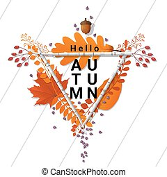 Hello autumn background with decorative wreath on wooden board 6