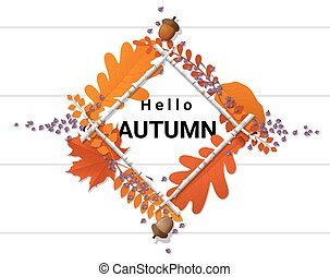 Hello autumn background with decorative wreath on wooden board 2