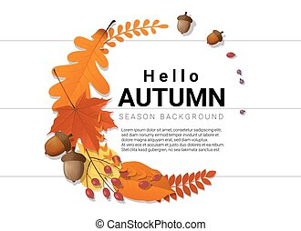Hello autumn background with decorative wreath on wooden board 3