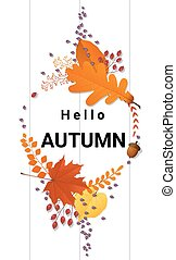 Hello autumn background with decorative wreath on wooden board 4