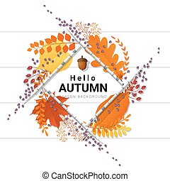 Hello autumn background with decorative wreath on wooden board 5