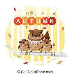 Hello autumn background with owl family